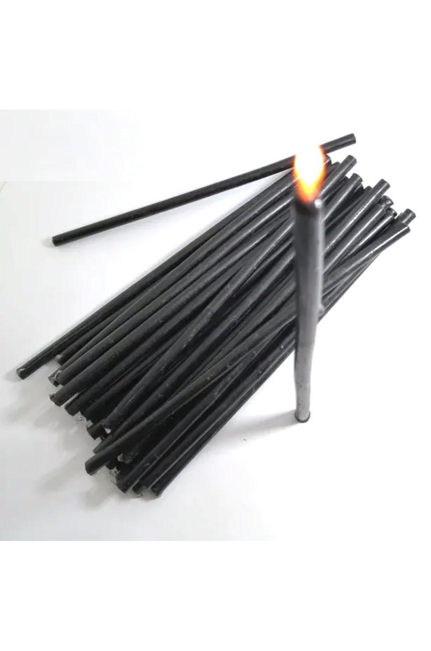 Свечи восковые черные (16см х 5мм) комплект 50шт