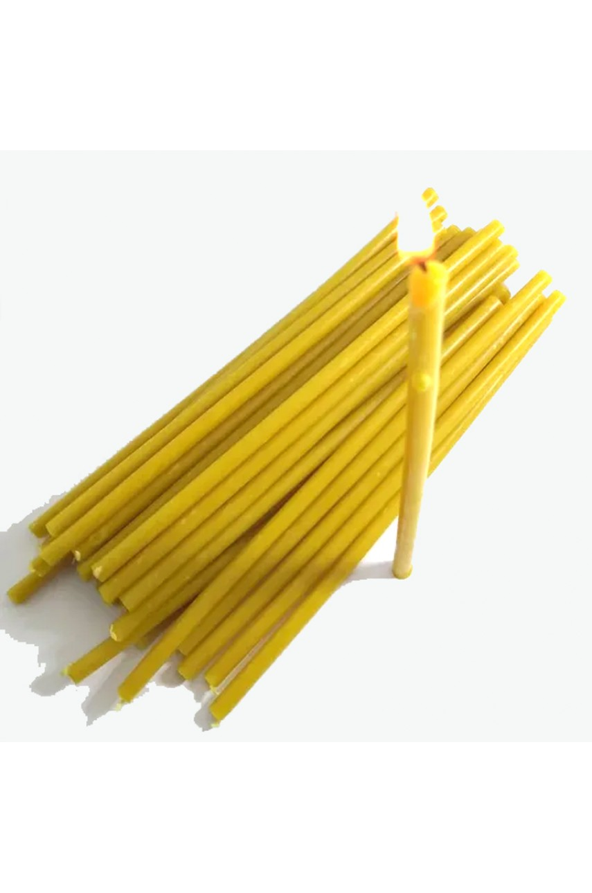 Свечи восковые желтые (16см высотой) УПАКОВКА 50шт