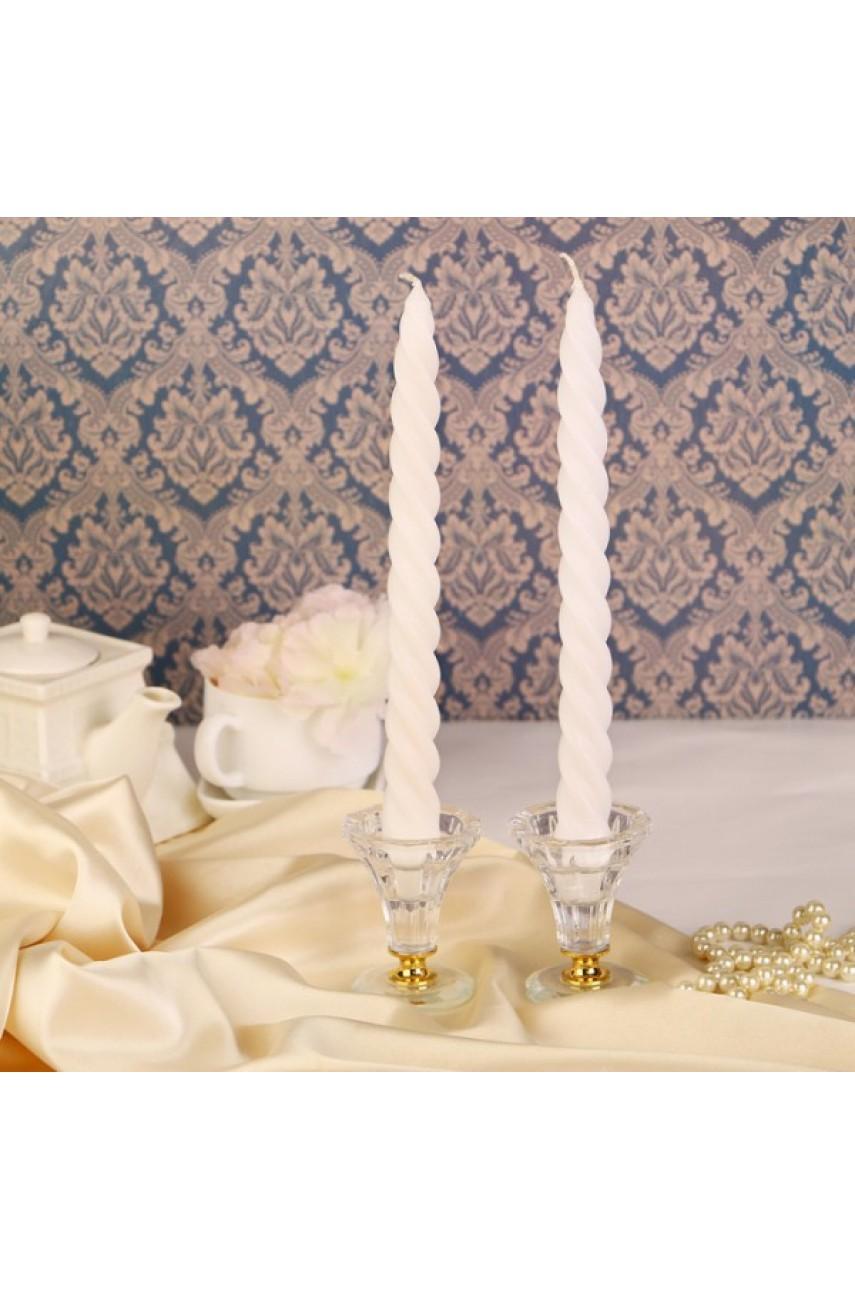 Набор свечей витых, 2 штуки, белый