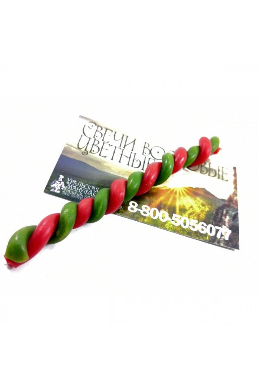 Свечи восковые СКРУТКИ в две свечи (500грамм) Красно-зеленое