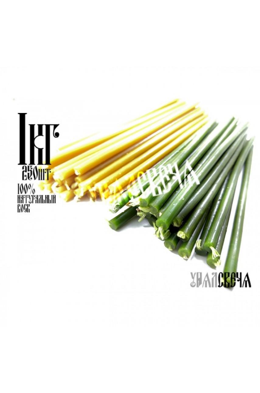 Свечи восковые цветные (2цв) Желтые и Зеленый (пачка 1 кг) 16см высотой